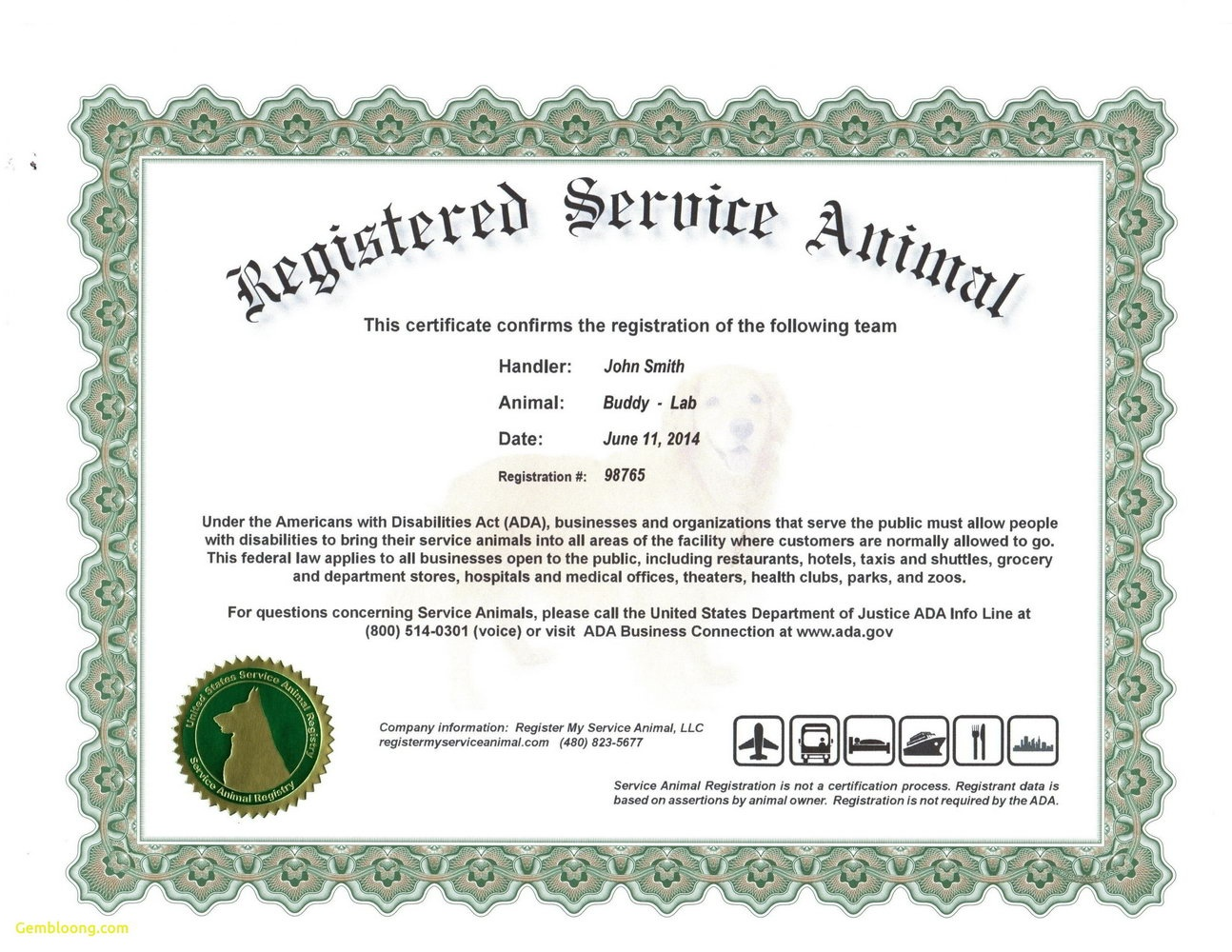 004 Service Dog Certificate Template Frightening Ideas Id Card Free - Free Printable Service Dog