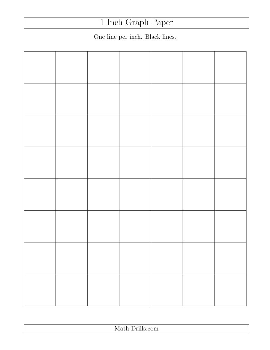 1 Inch Graph Paper With Black Lines (A) - One Inch Graph Paper Free Printable