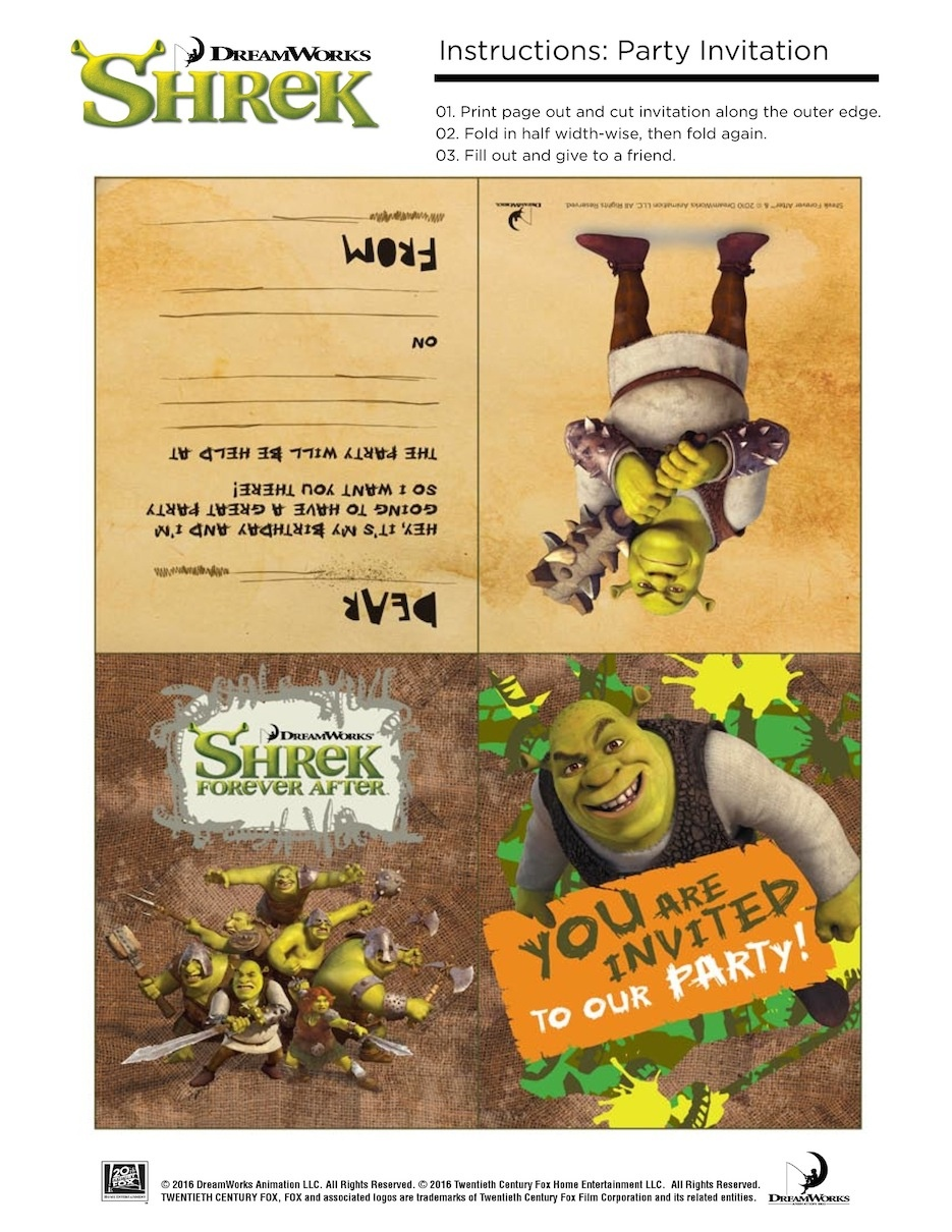 10 Free Shrek Party Printable: Invitation, Games, Party Hat, Etc. - Free Printable Shrek Invitations