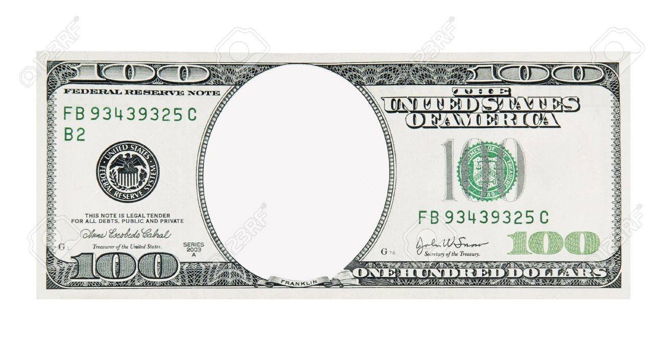100 Dollar Bill Front No Face Stock Photo, Picture And Royalty Free - 100 Dollar Bill Printable Free