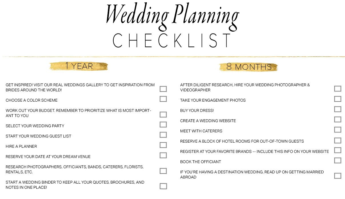 11 Free, Printable Wedding Planning Checklists - Free Printable Wedding Party List