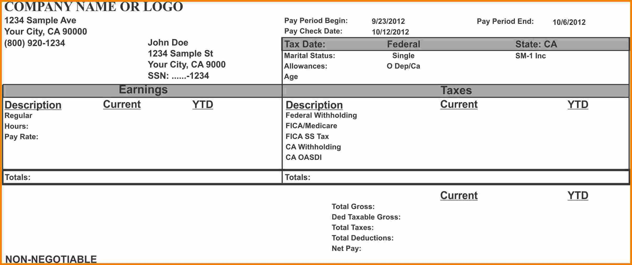 12+ Create Pay Stubs Online Free | Grittrader - Free Printable Pay Stubs