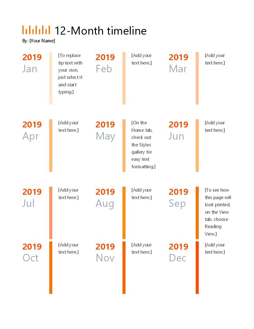 12-Month Timeline - Free Timeline Creator Printable