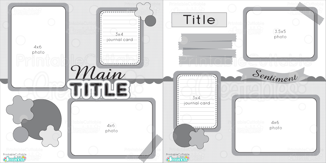 12X12 Two Page Free Printable Scrapbook Layout - Free Printable Scrapbook Templates