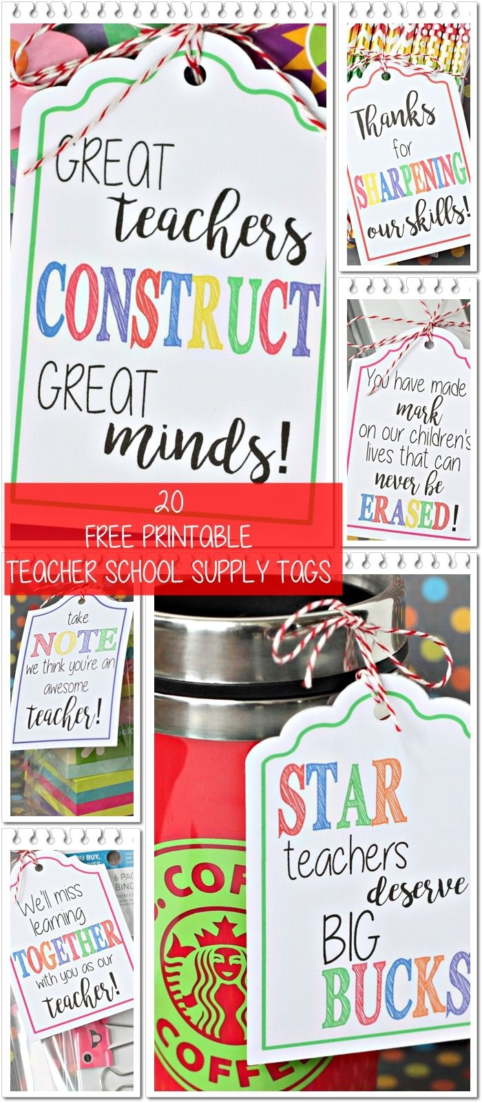 20 Free Printable Teacher School Supply Tags Perfect For End-Of-The - Take Note I Think You Are Awesome Free Printable