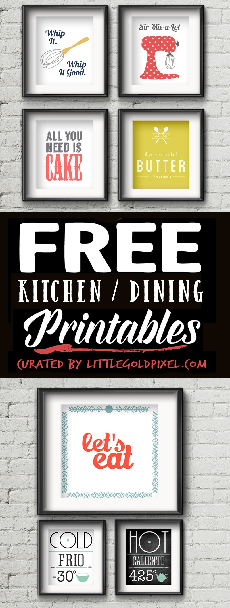 20 Kitchen Free Printables • Wall Art Roundup • Little Gold Pixel - Free Kitchen Printables