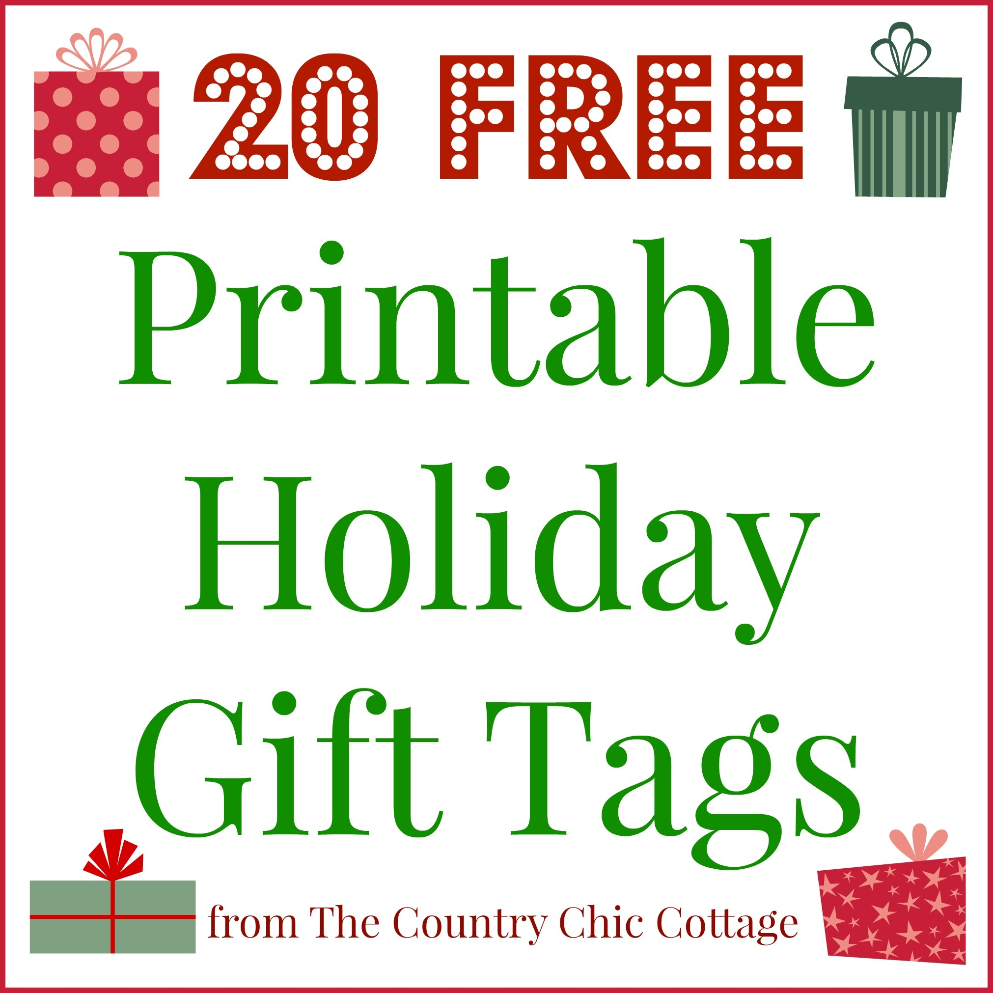 20 Printable Holiday Gift Tags (For Free!!) - The Country Chic Cottage - Christmas Name Tags Free Printable