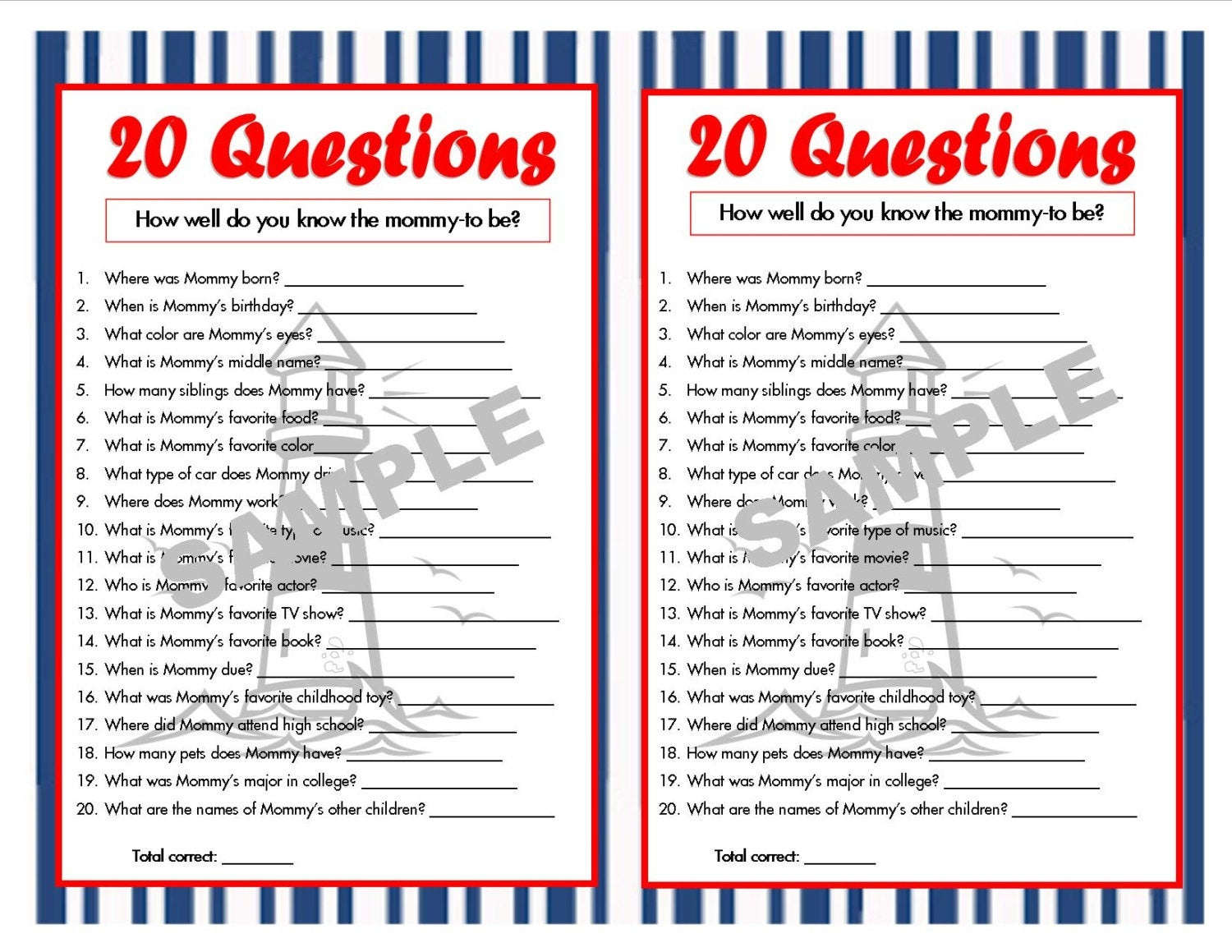20 Questions Nautical Printable Party Game Nautical Baby | Etsy - Who Knows Mommy And Daddy Best Free Printable