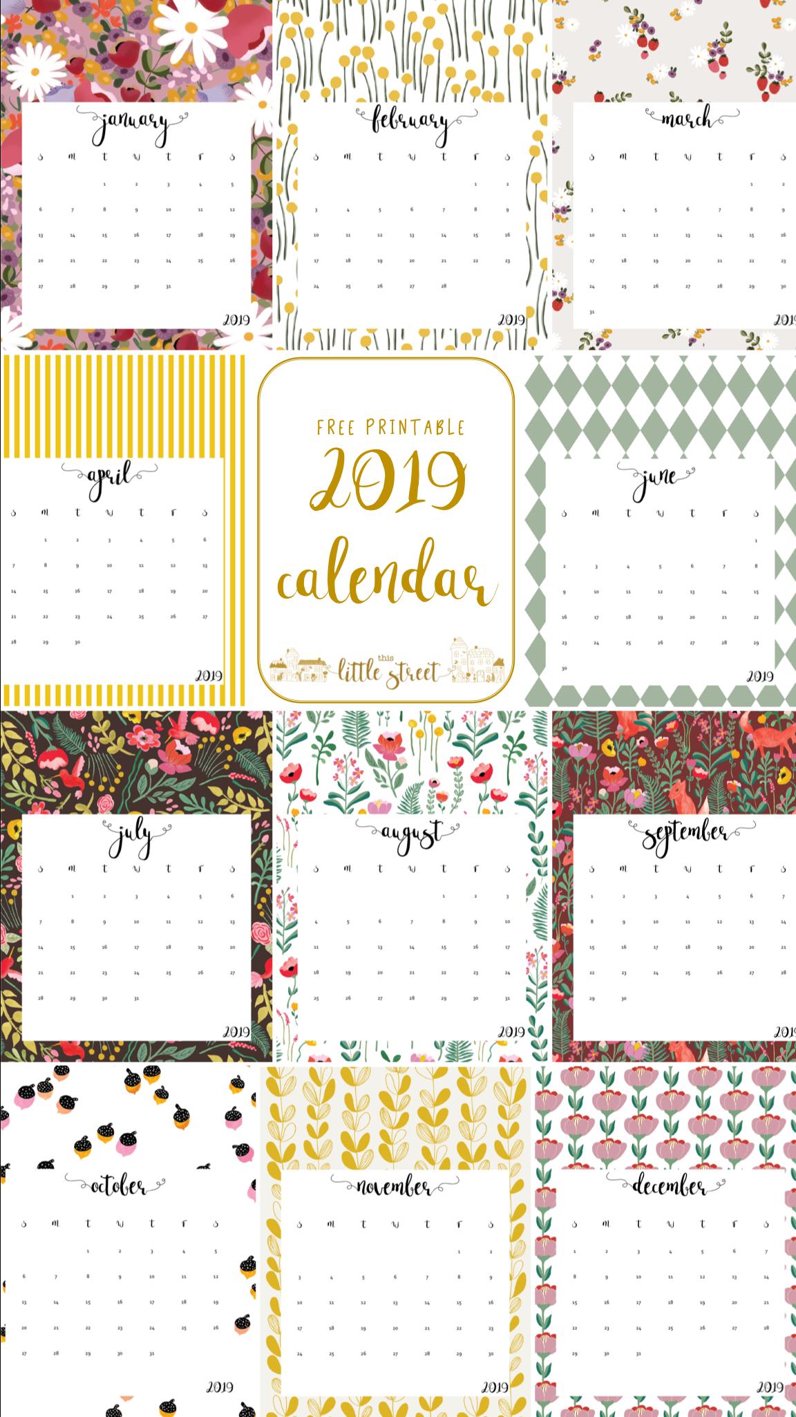 2019 Calendar - Free Printable! | This Little Street : This Little - Free Printables 2019
