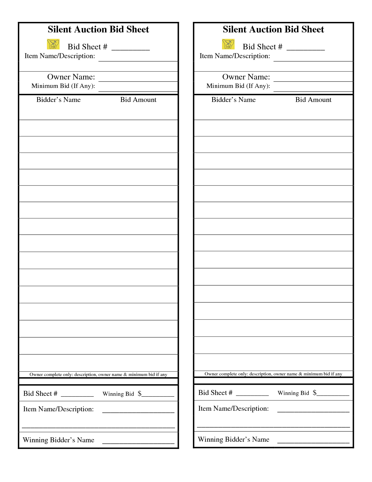 24 Awesome Sample Silent Auction Bid Sheet Images | Silent Auction - Free Printable Silent Auction Templates