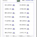 24 Printable Order Of Operations Worksheets To Master Pemdas!   Order Of Operations Free Printable Worksheets With Answers