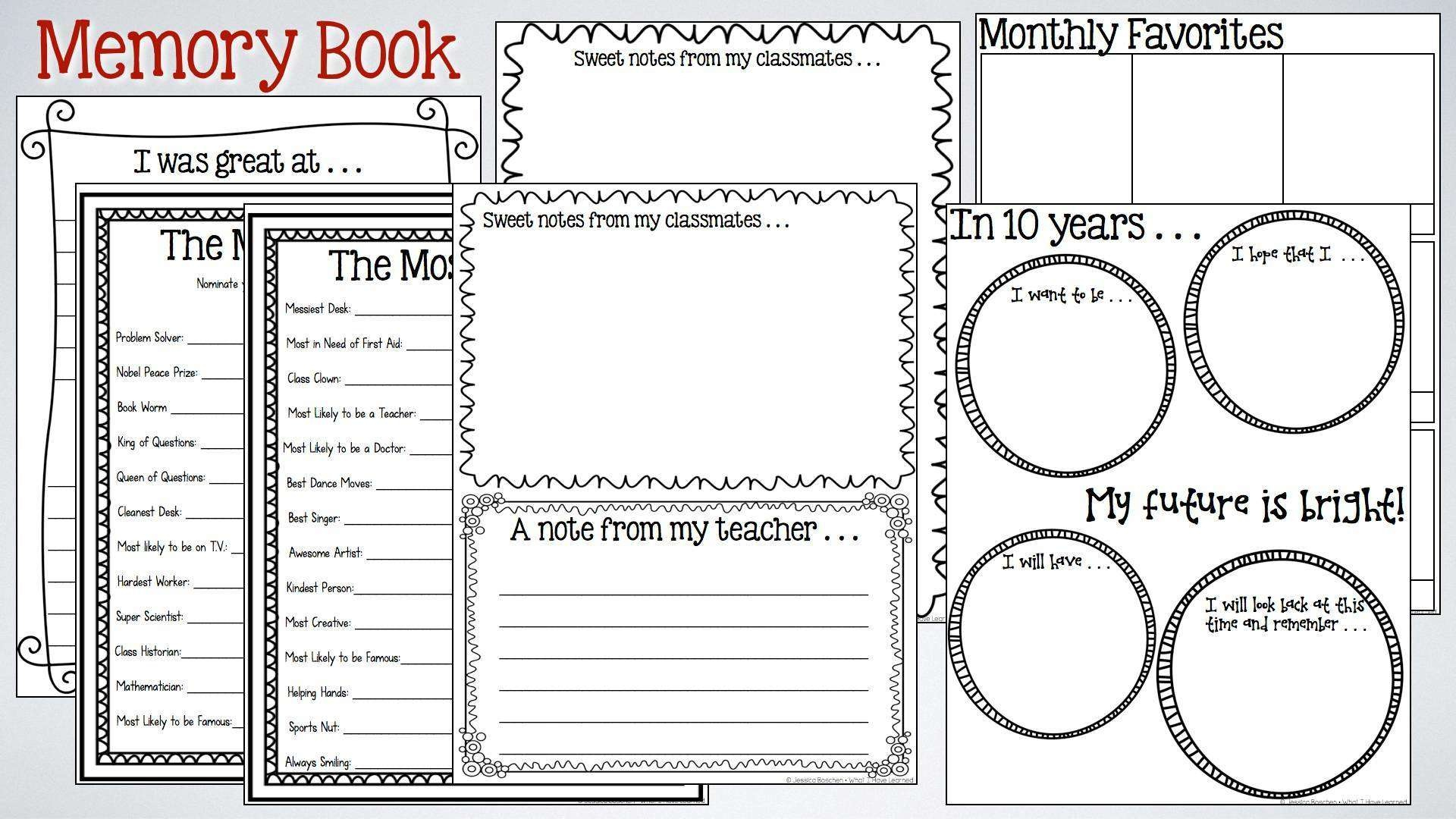 26 Images Of School Years Memory Book Template | Unemeuf - Free Printable Memory Book Templates
