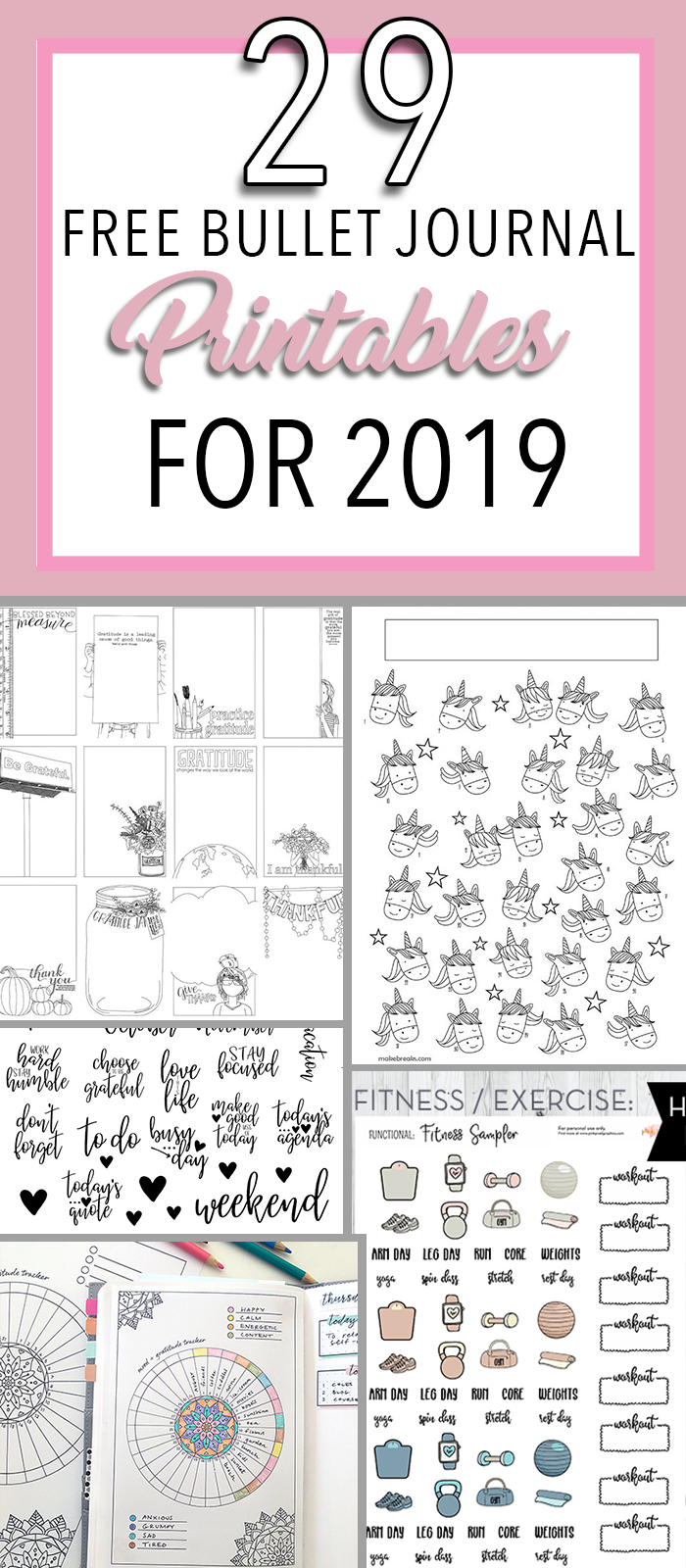 29 Free Bullet Journal Printables To Snag For 2019 | The Petite - Free Bullet Journal Printables 2019