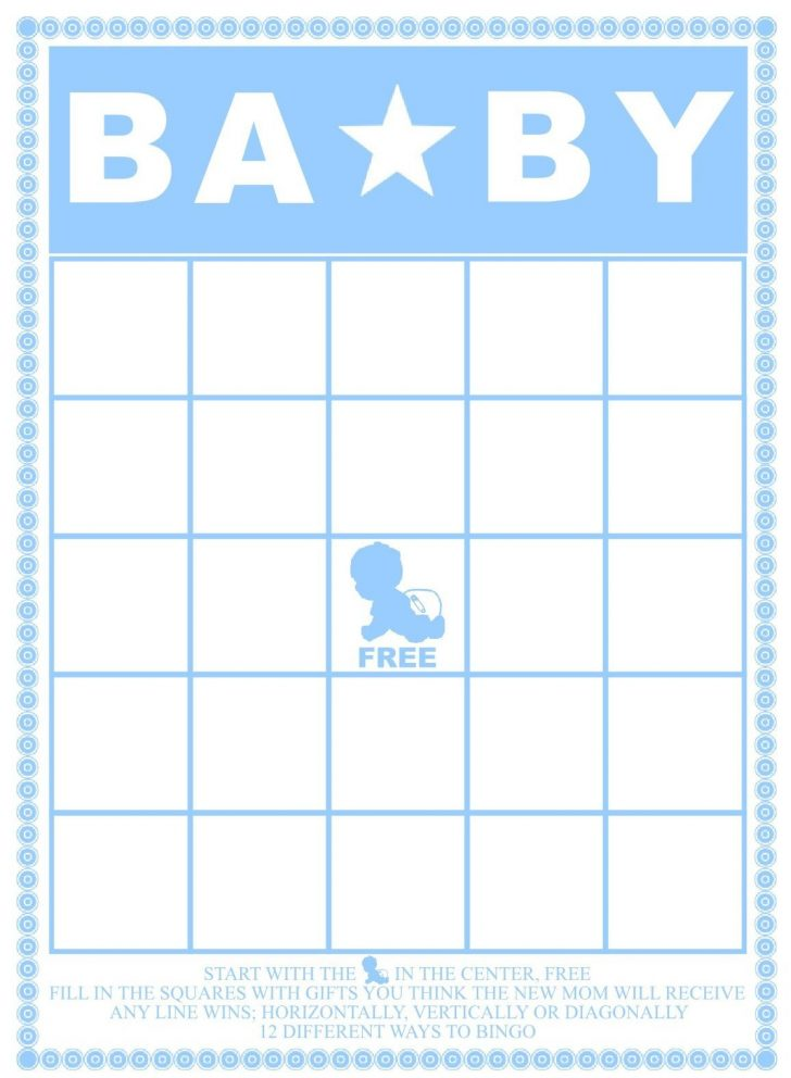 Baby Shower Bingo Template Free Printable