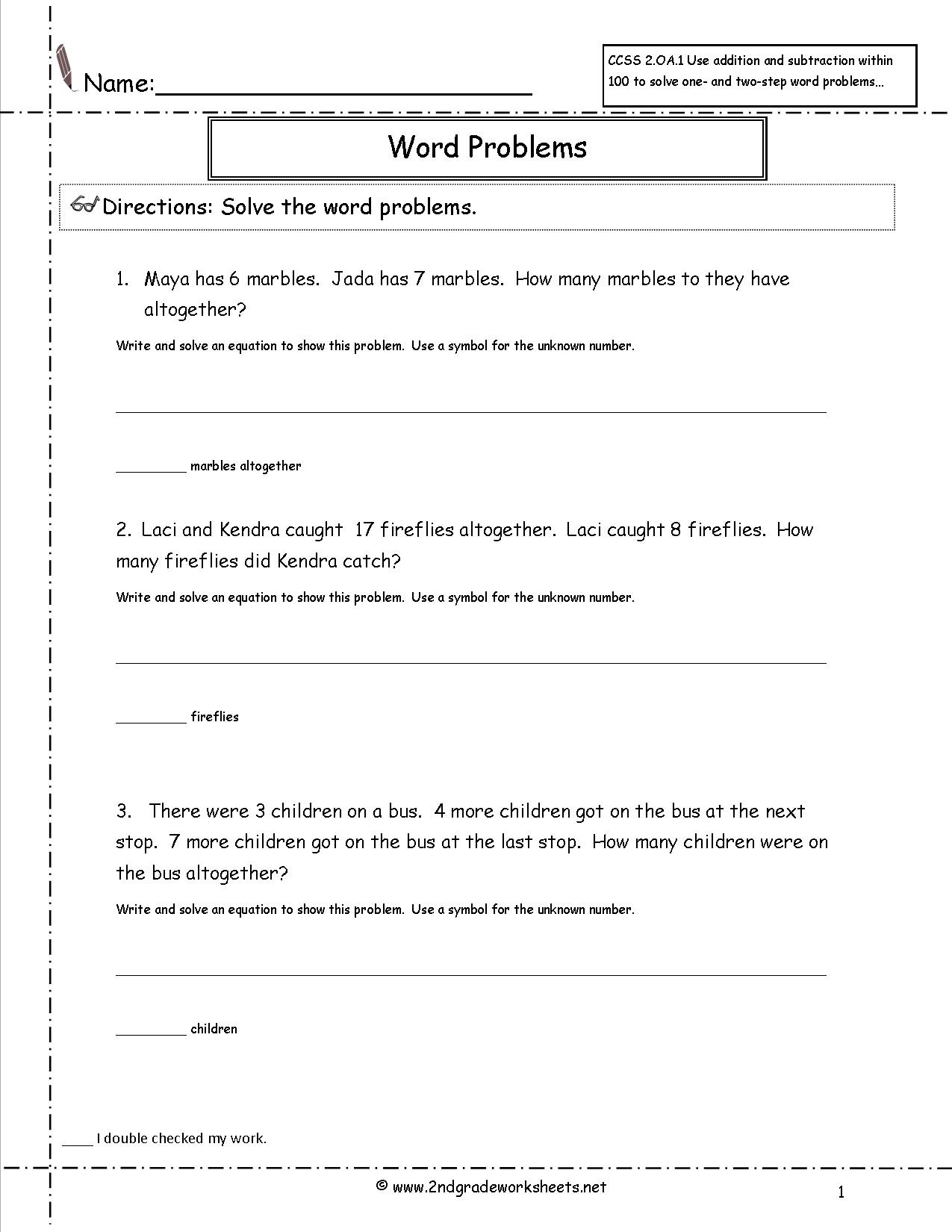 2Nd Grade Math Common Core State Standards Worksheets - Free Printable Word Problems 2Nd Grade