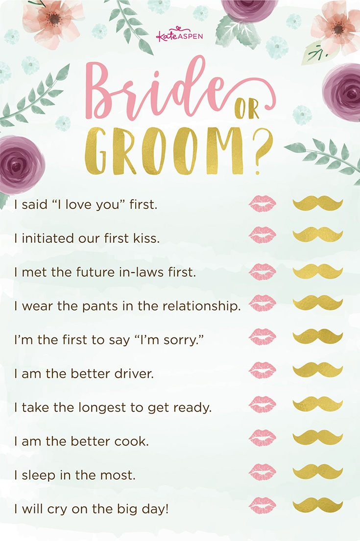 3 Bridal Shower Games + Free Printables | Kate Aspen Blog - Free Printable Wedding Shower Games