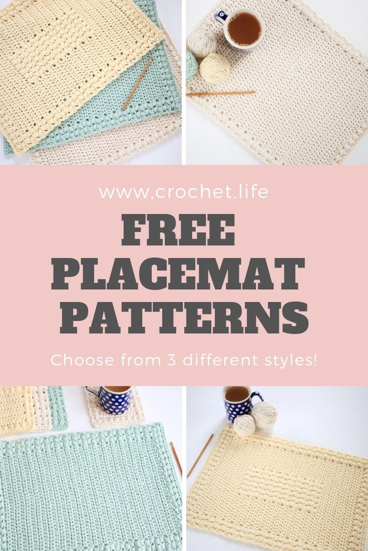 3 Easy To Crochet Placemat Patterns - Sunny Hollow Set - Crochet . Life - Free Printable Placemat Patterns