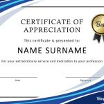 30 Free Certificate Of Appreciation Templates And Letters   Free Printable Templates For Certificates Of Recognition