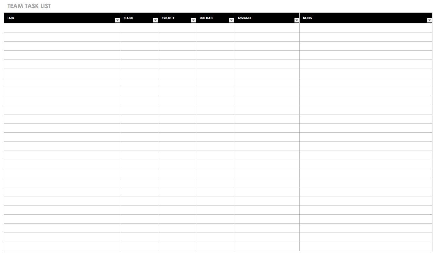 30+ Free Task And Checklist Templates | Smartsheet - Free Printable Task Organizer
