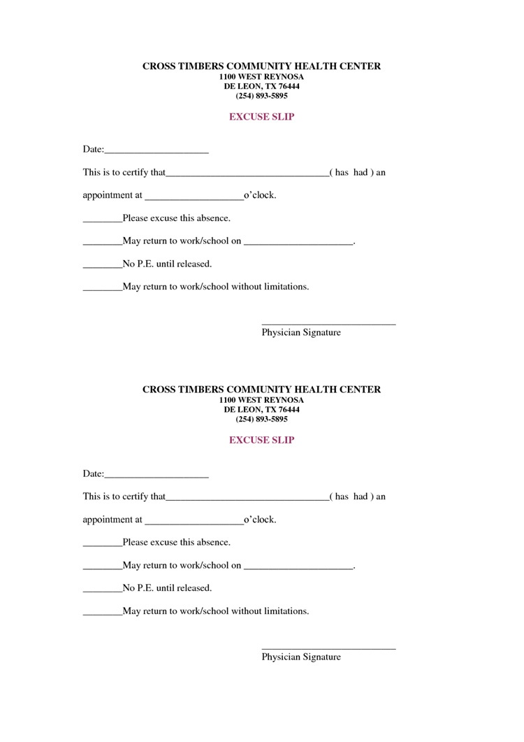 36 Free Fill-In-Blank Doctors Note Templates (For Work & School) - Free Printable Doctor Notes