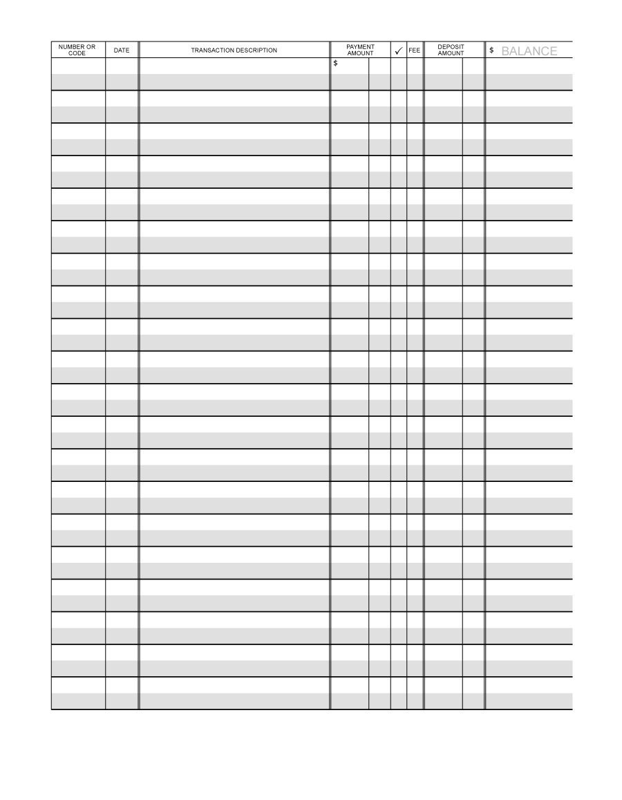 37 Checkbook Register Templates [100% Free, Printable] ᐅ Template Lab - Free Printable Check Register With Running Balance