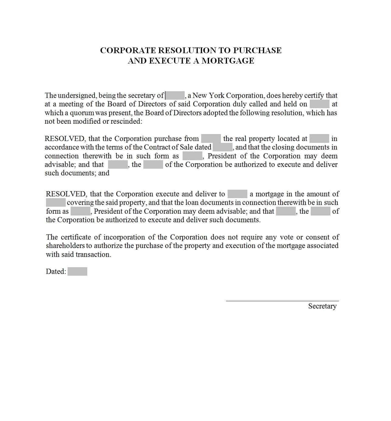 37 Printable Corporate Resolution Forms ᐅ Template Lab - Free Printable Legal Documents Forms