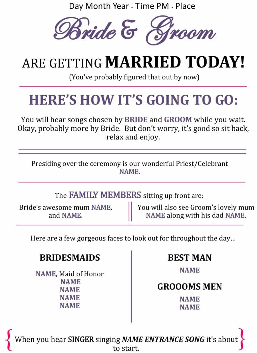37 Printable Wedding Program Examples & Templates ᐅ Template Lab - Free Printable Wedding Program Templates