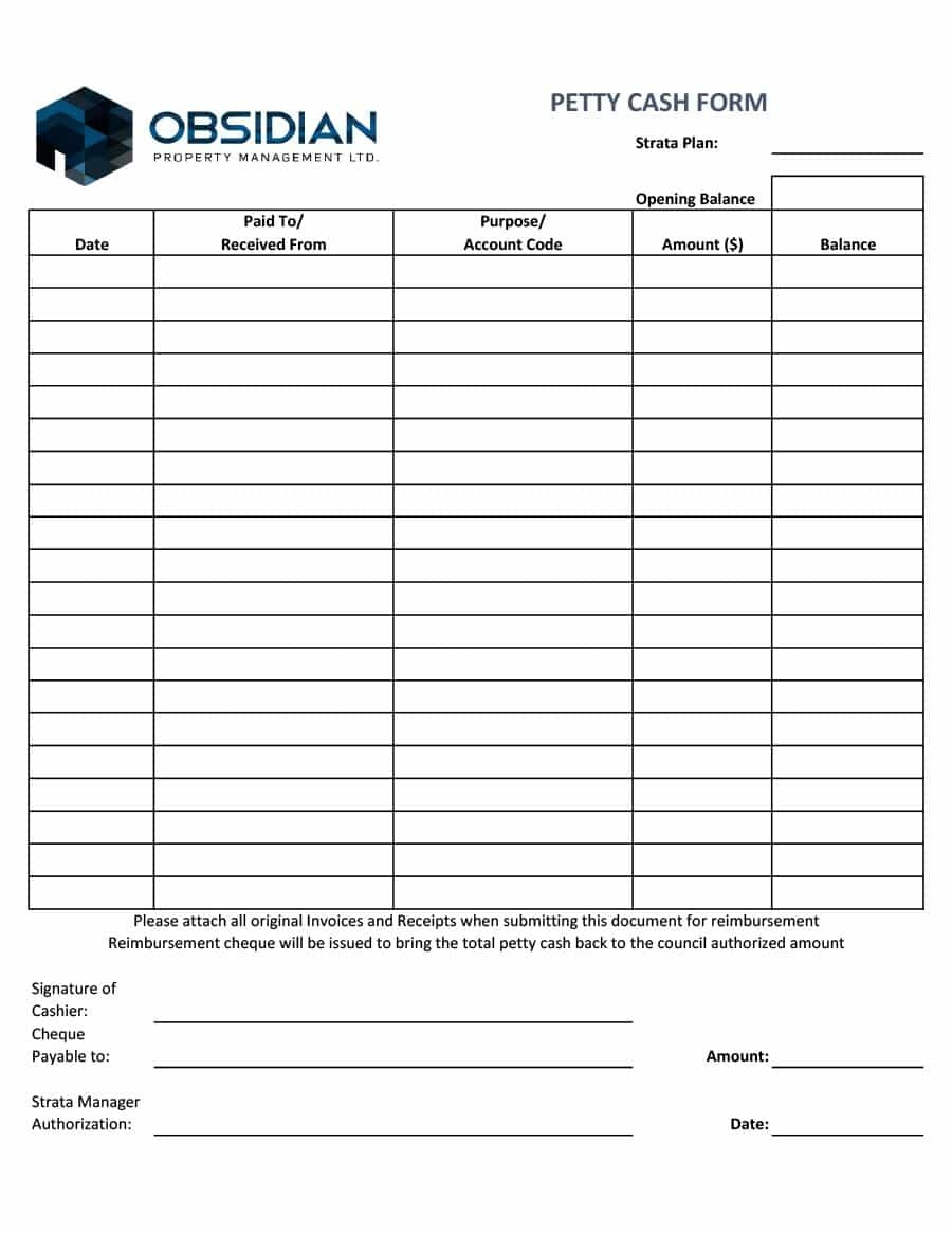 40 Petty Cash Log Templates & Forms [Excel, Pdf, Word] ᐅ Template Lab - Free Printable Petty Cash Template