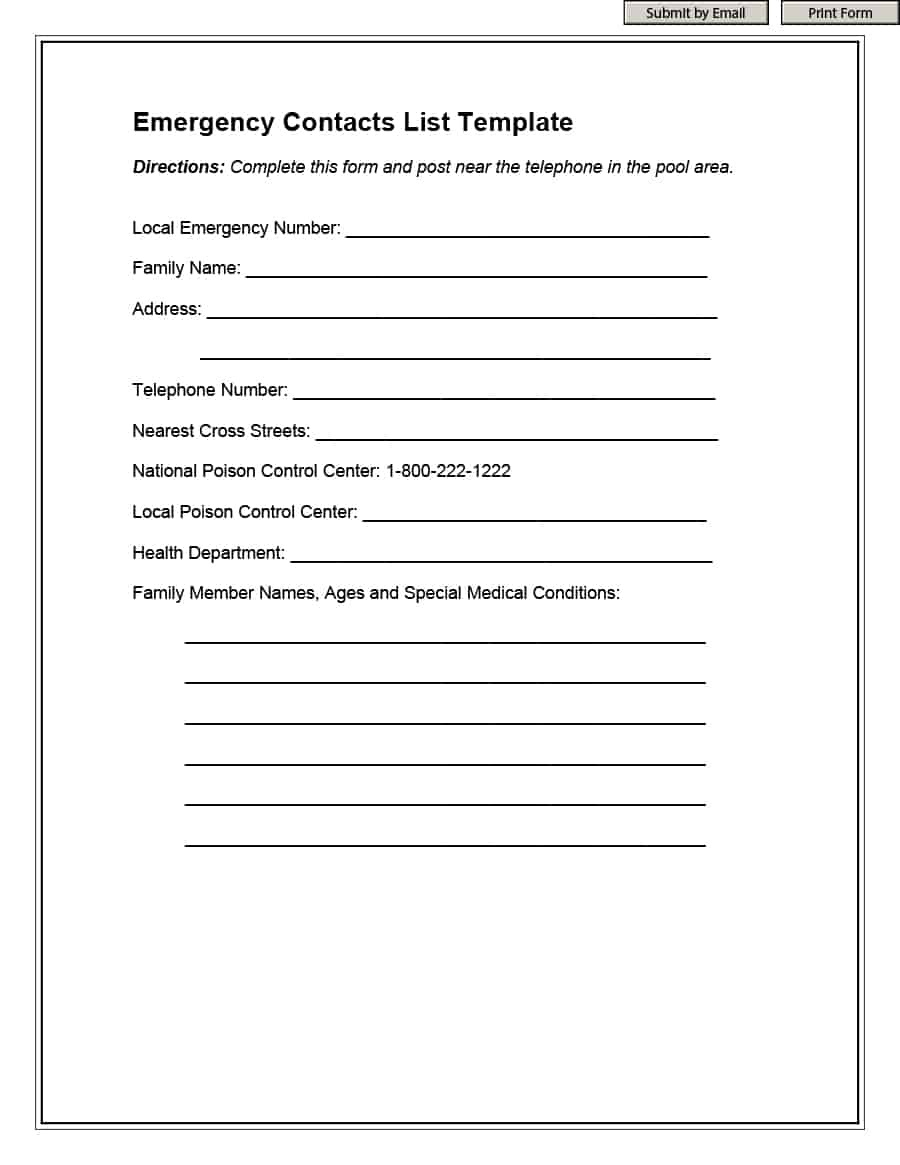 40 Phone & Email Contact List Templates [Word, Excel] ᐅ Template Lab - Free Printable Contact Forms