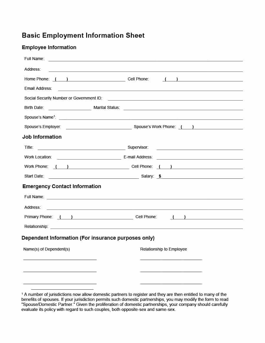 47 Printable Employee Information Forms (Personnel Information Sheets) - Free Printable Hr Forms