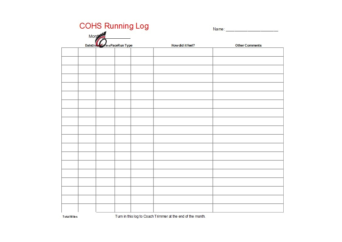49 Handy Running Log Templates (+Walking Charts) ᐅ Template Lab - Free Printable Running Log