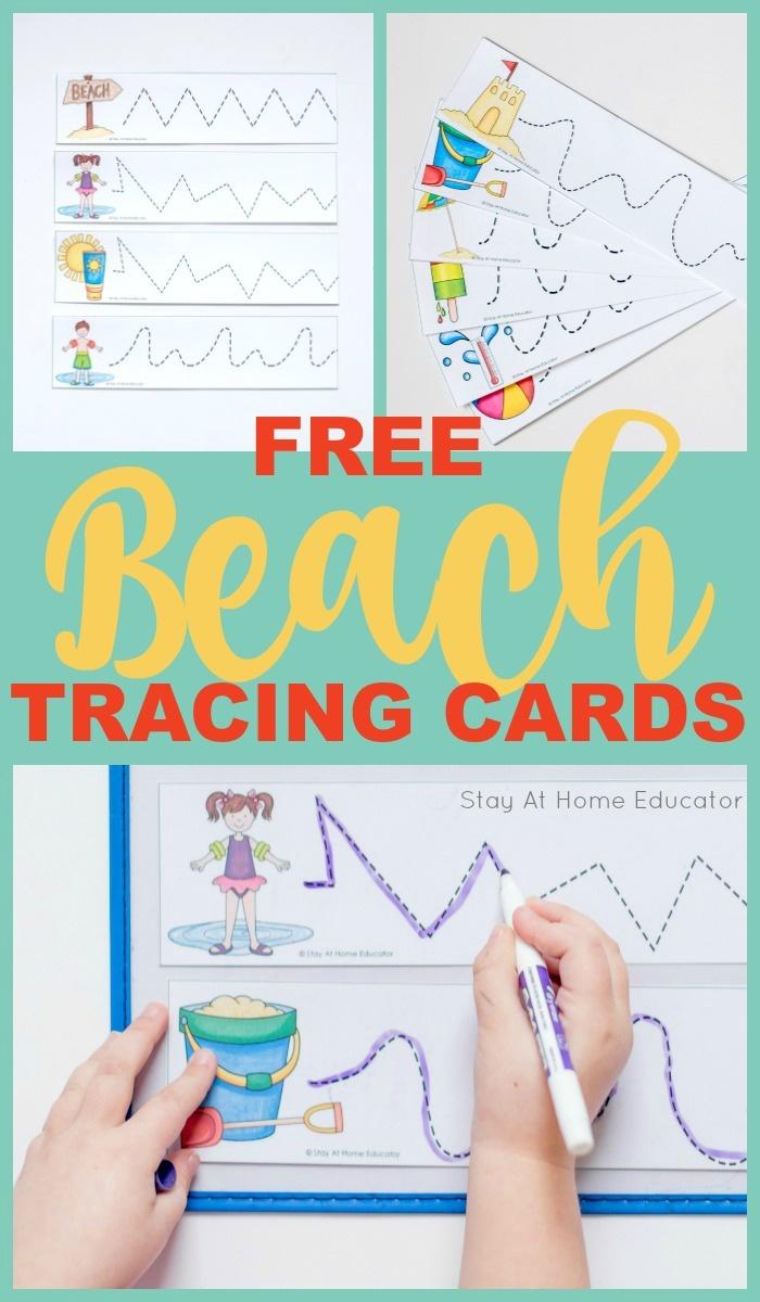 5 Beach Theme Printables Plus Free Prewriting Cards Printable - Stay - Free Printable Beach Pictures