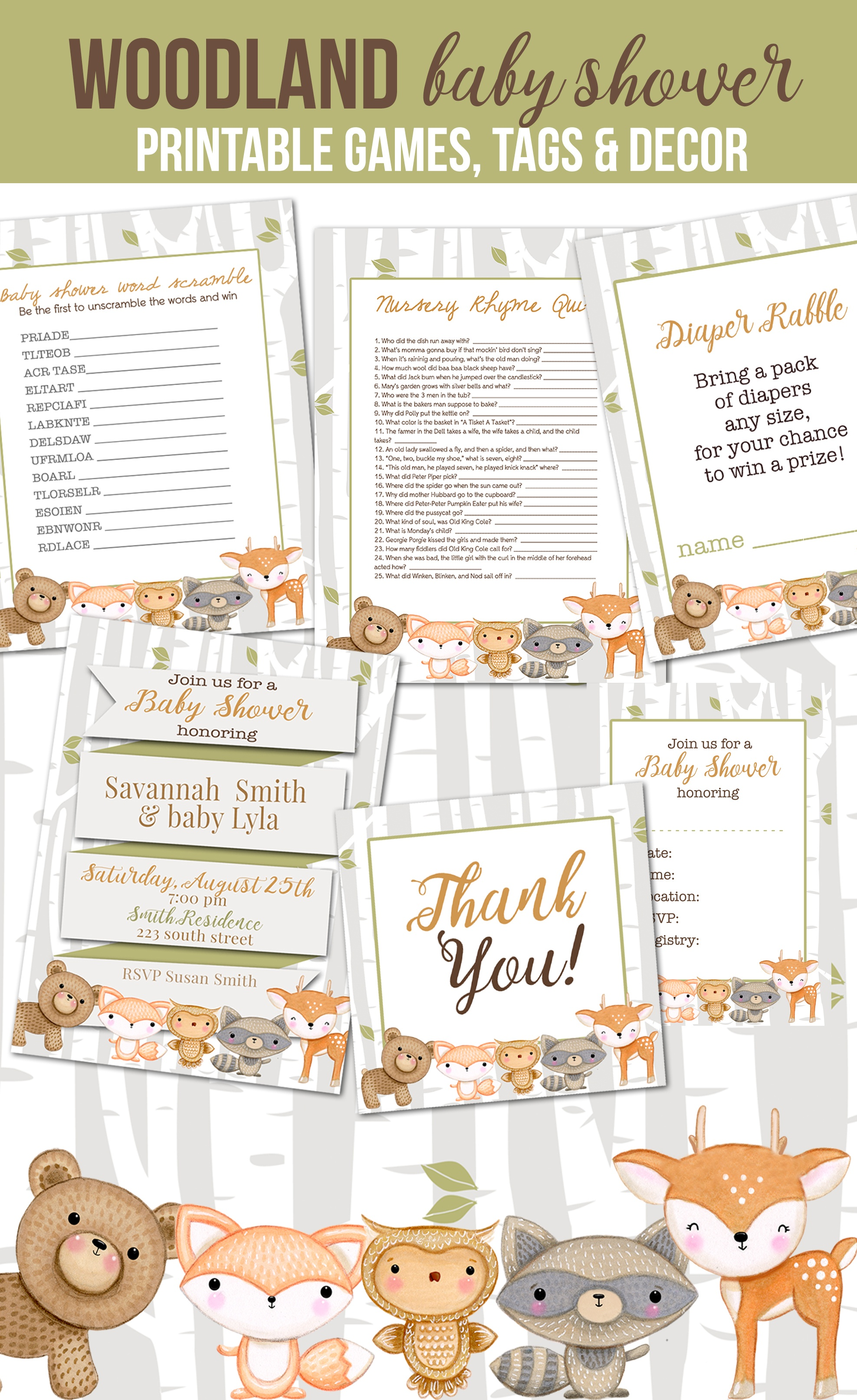 5 Darling Woodland Animal Baby Shower Free Printables And Ideas For - Woodland Baby Shower Games Free Printables