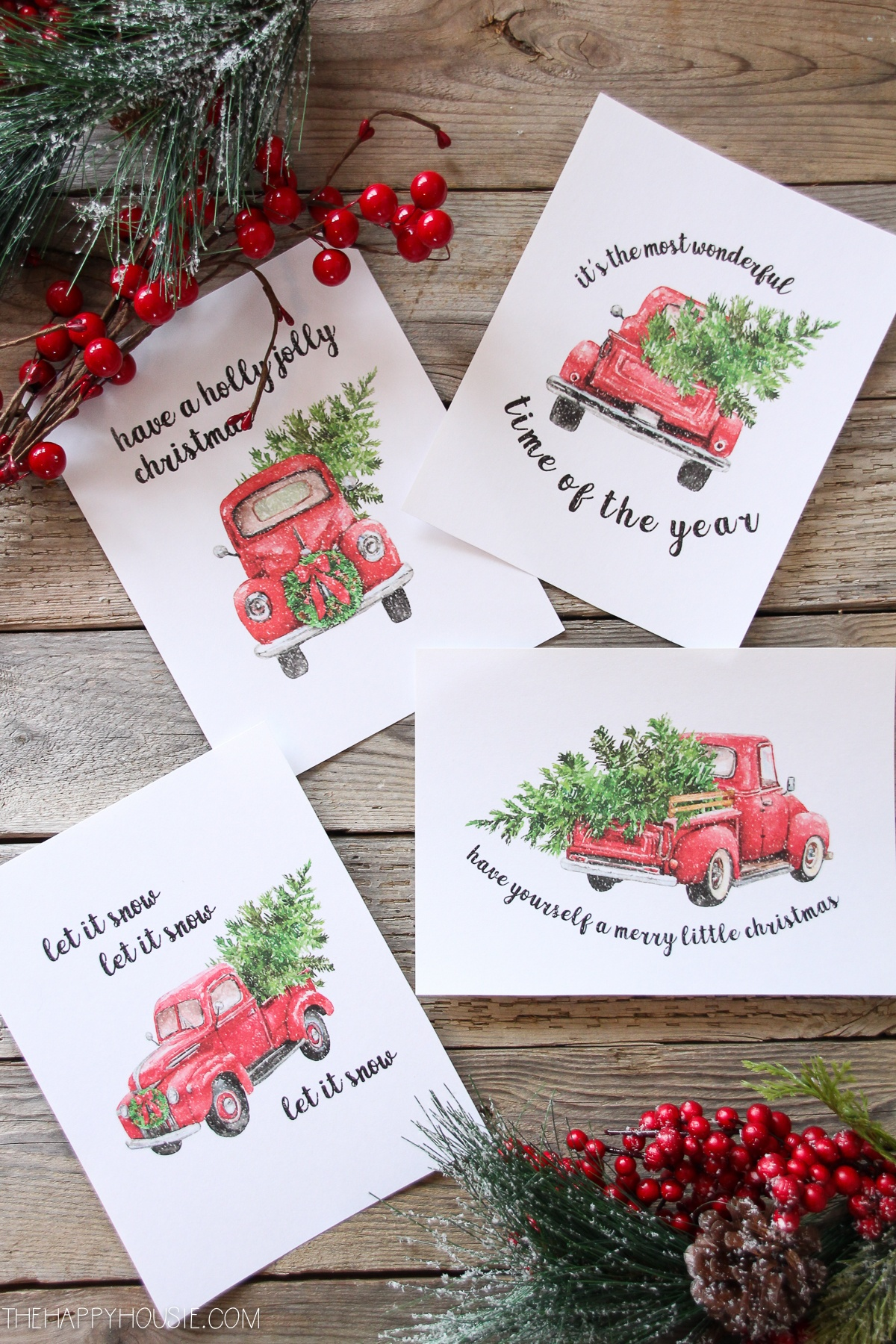 5 Free Vintage Truck Christmas Printables | The Happy Housie - Free Christmas Printables