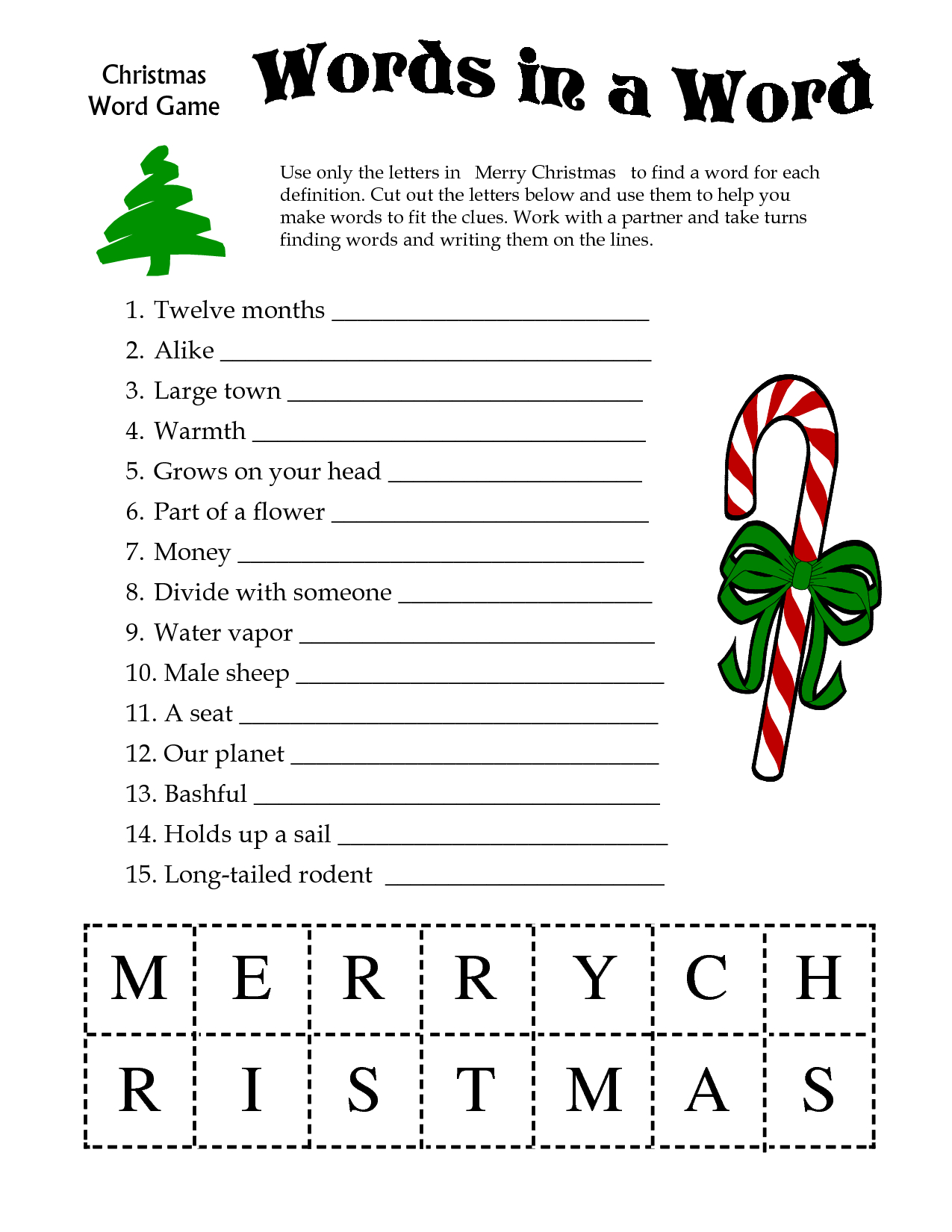 5 Images Of Free Printable Christmas Word Games | Printablee - Free Printable Christmas Games