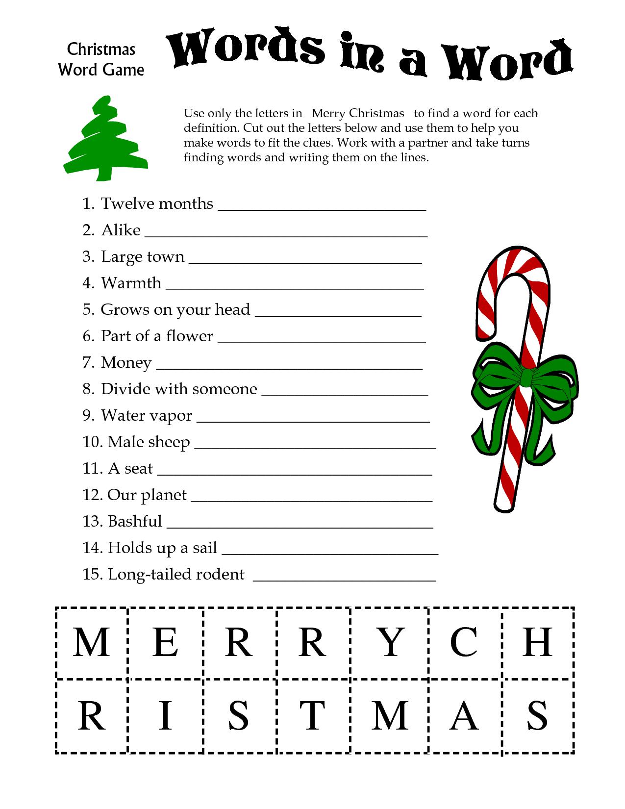 5 Images Of Free Printable Christmas Word Games | Printablee - Free Printable Christmas Games