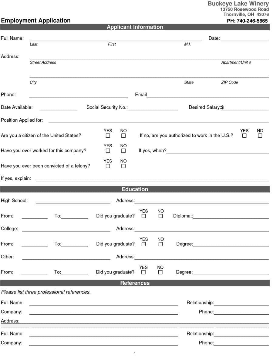 50 Free Employment / Job Application Form Templates [Printable] ᐅ - Free Printable Job Applications Online
