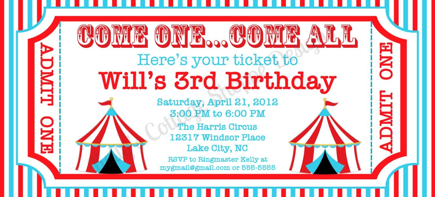 6 Best Images Of Circus Ticket Template Printable | Craft Ideas - Free Printable Ticket Invitations
