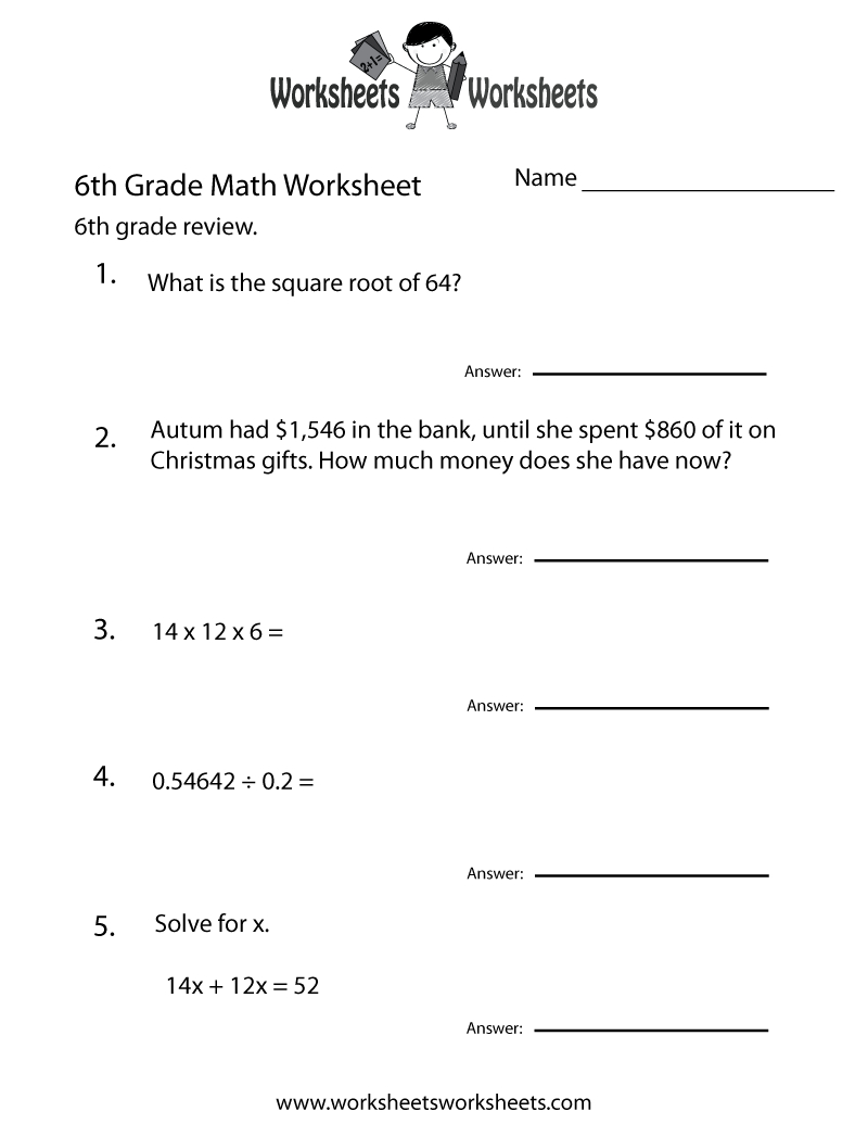 6 Grade Math Worksheets | Sixth Grade Math Practice Worksheet - Free - 7Th Grade Math Worksheets Free Printable With Answers