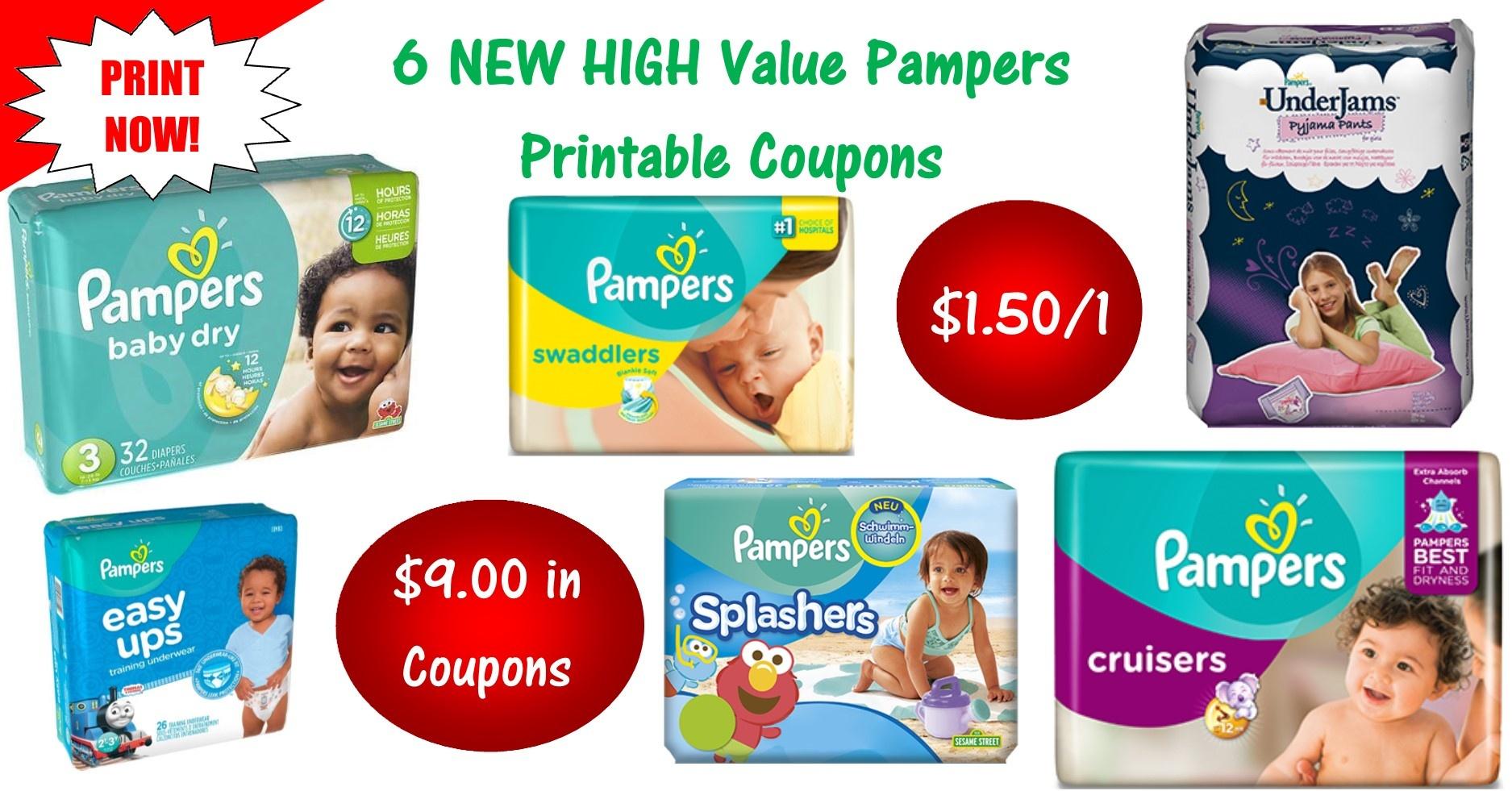 6 Pampers Printable Coupons ~ Print Now! $9 In Savings! - Free Printable Pampers Swaddlers Coupons