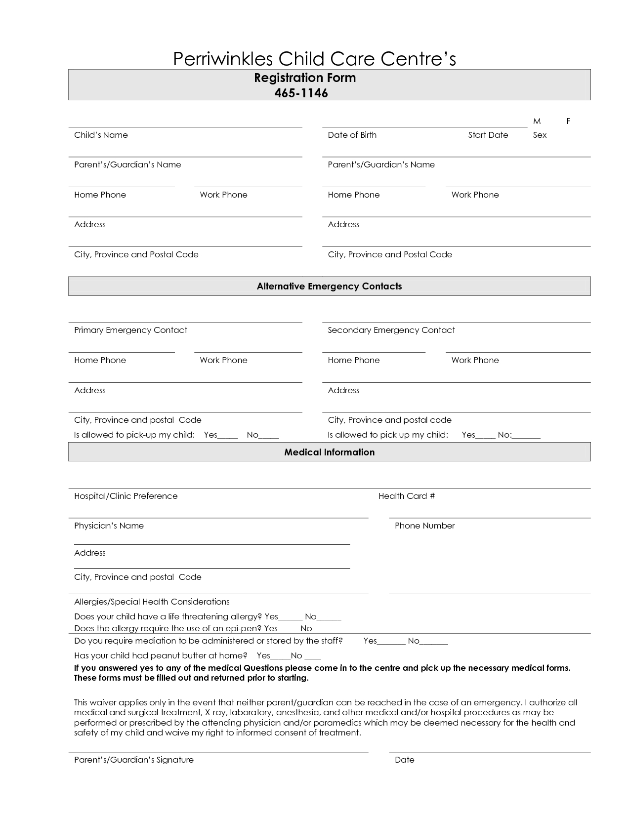 7 Best Images Of Printable Daycare Forms Free Daycare Contract Forms - Free Printable Contact Forms