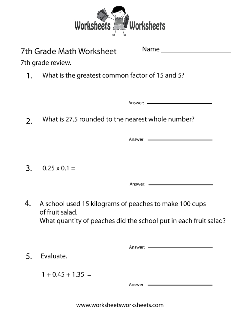 7Th Grade Math Review Worksheet - Free Printable Educational Worksheet - Free Printable 7Th Grade Vocabulary Worksheets