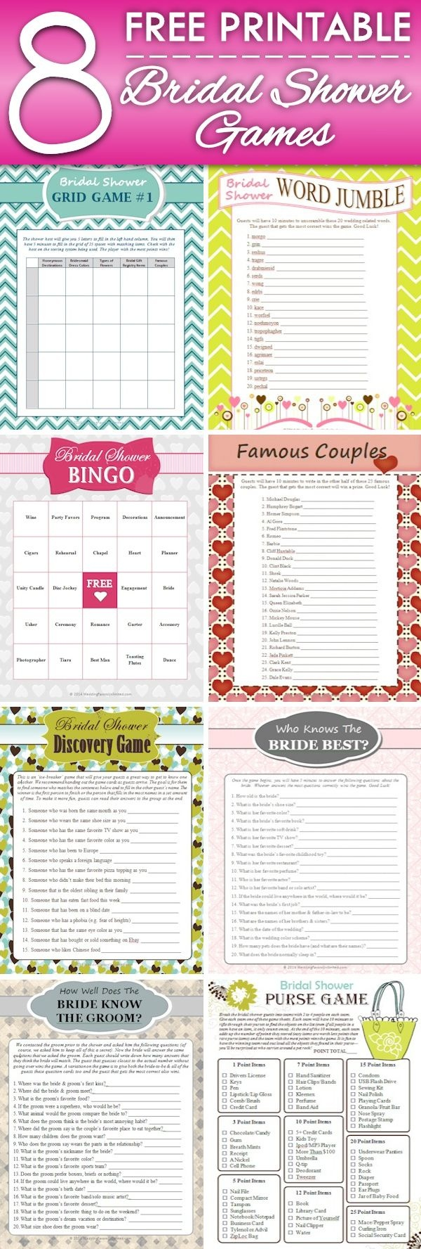 8 Free Printable Bridal Shower Games - Download Some Fun Today! | My - Free Printable Bridal Shower Games And Activities