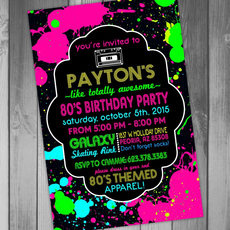 80S Birthday Invitation 80S Birthday Party Invitation Rollerskating - Free Printable 80S Birthday Party Invitations