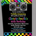 80S Party Invitation Printable Or Printed With Free Shipping   Free Printable 80S Birthday Party Invitations