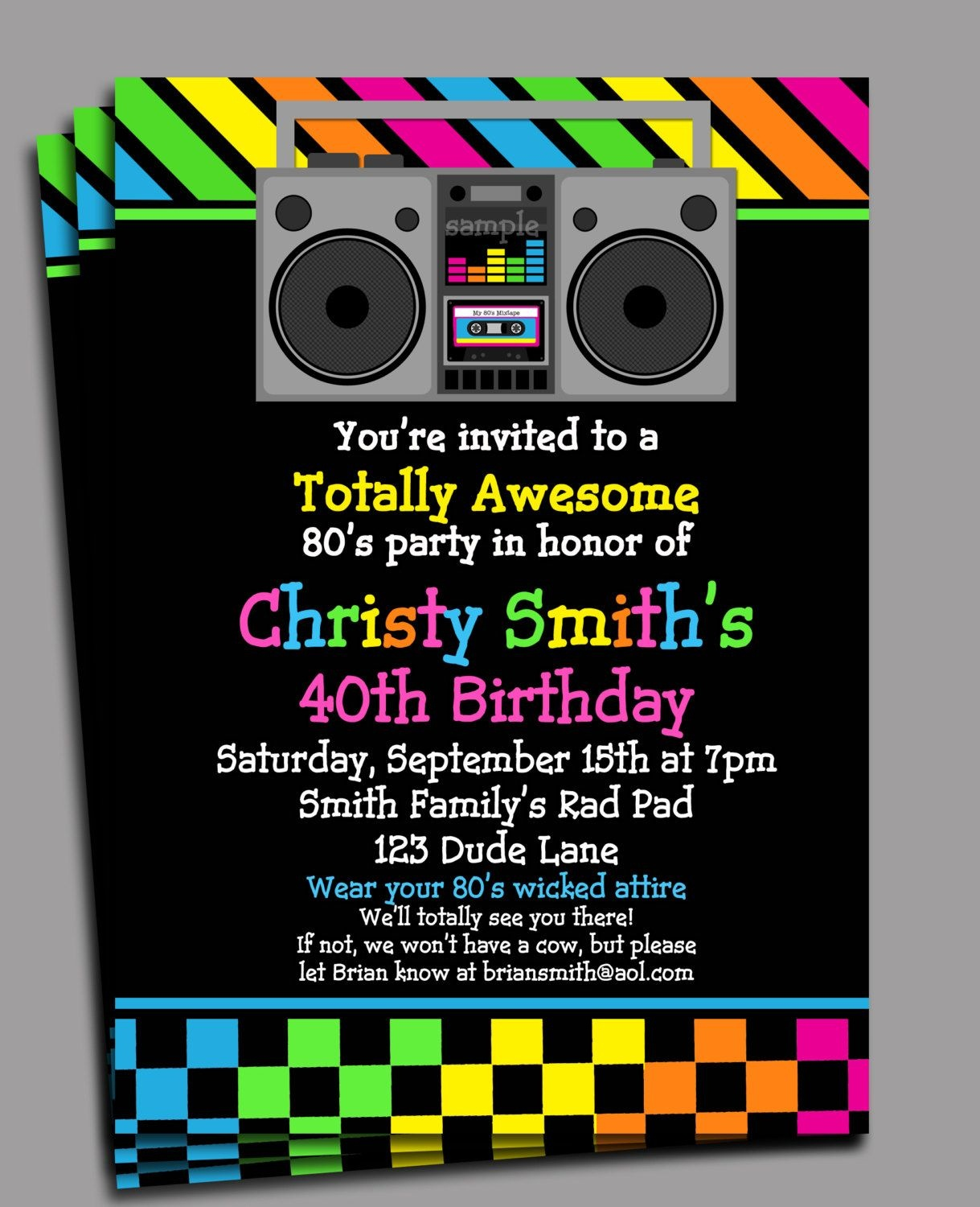 80S Party Invitation Printable Or Printed With Free Shipping - Free Printable 80S Birthday Party Invitations