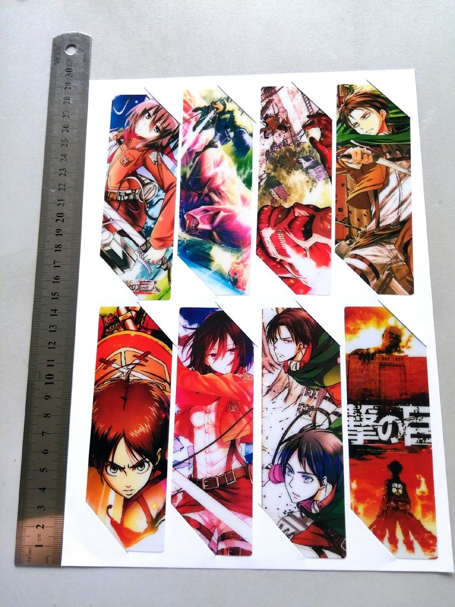 8Pcs/set Pvc Anime Bookmarks Printed With Anime Attack On Titan - Anime Bookmarks Printable For Free
