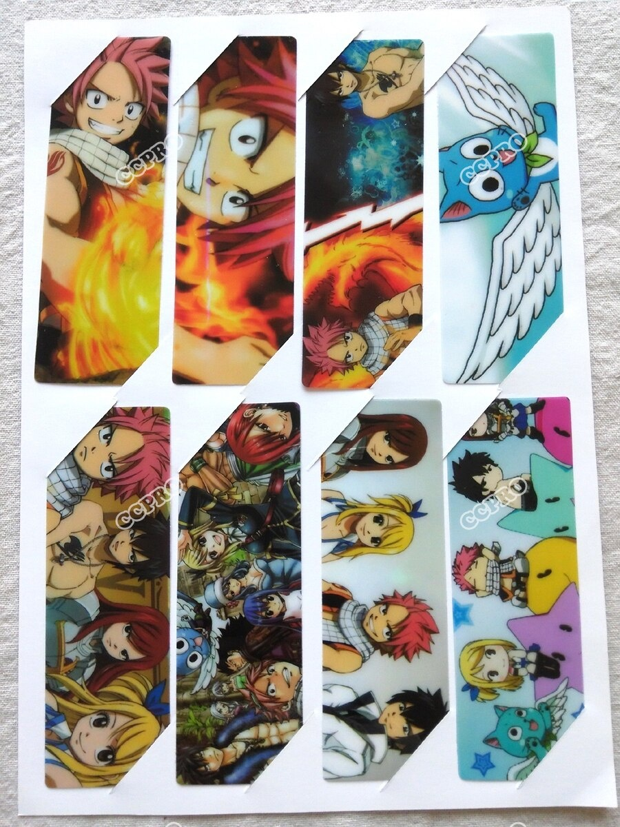 8Pcs/set Pvc Anime Bookmarks Printed With Anime Fairy Tail Natsu - Anime Bookmarks Printable For Free