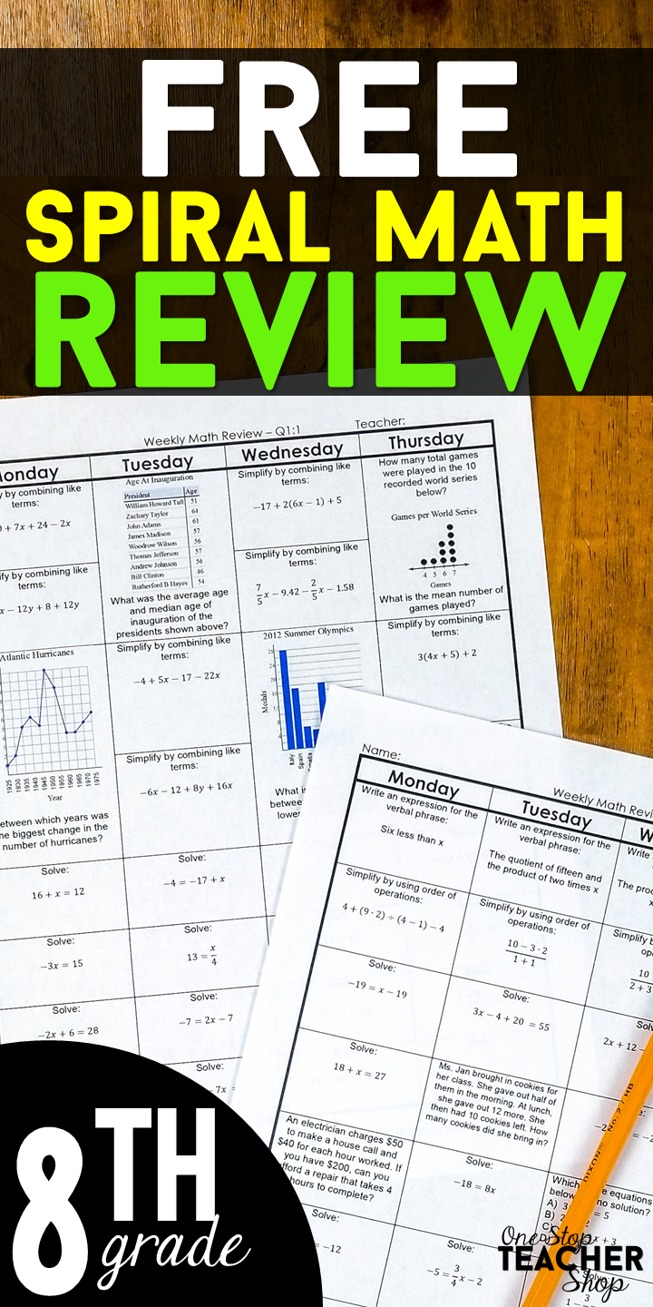 8Th Grade Math Spiral Review | 2 Weeks Free | Free Teaching - Free Printable Daily Math Warm Ups