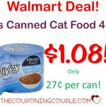 9Lives Canned Cat Food 4 Pack   Only $1.08 With Walmart Deal!   Free Printable 9 Lives Cat Food Coupons